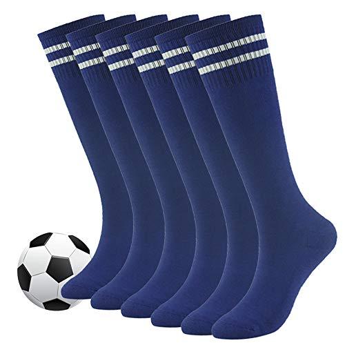 (Soccer Socks for Youth,Fasoar Girls Boys Classic Stripes Design Athletic Baseball Socks Long Tube Kids Sport Socks 6 Pack Blue)