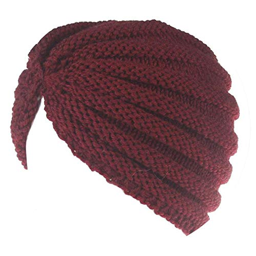 Skull-caps Fashion Keep Warm Beanies for Women Wool Turban Knitted Winter Hats Winds Up,OneSize,Red