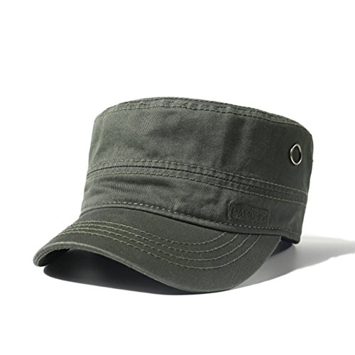 Cotton Military Cap Hat - CACUSS Men's Cotton Army Cap Cadet Hat Military Flat Top Adjustable Baseball Cap (P0041_Olive)