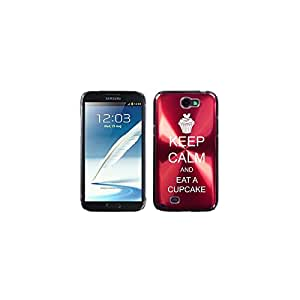 Samsung Galaxy Note 2 II N7100 Red 2F1218 Aluminum Plated Hard Case Keep Calm and Eat A Cupcake