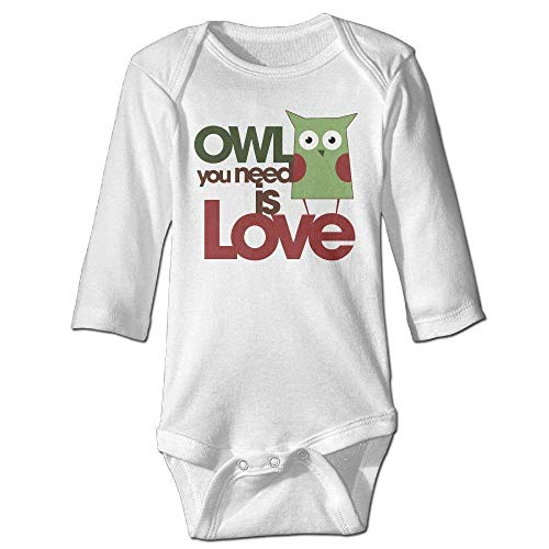 Price comparison product image Owl You Need is Love Newborn Long Sleeve Romper Bodysuit Outfits White