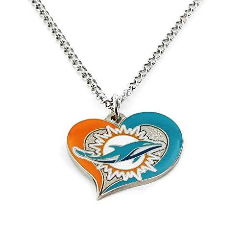 aminco NFL Miami Dolphins Swirl Heart Necklace