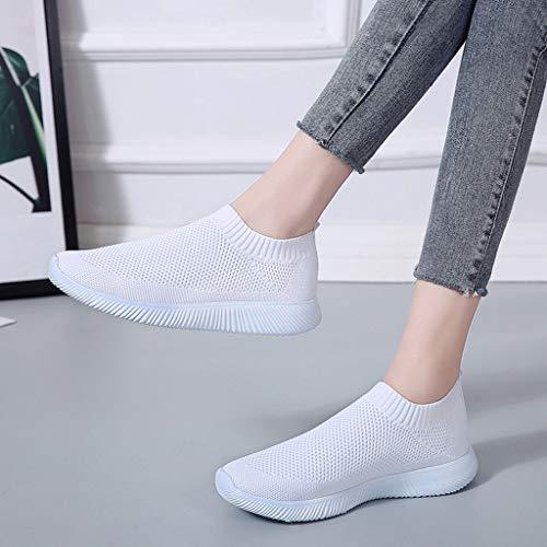 Compensée Fond Air Mou Sneakers Blanc Chaussures mounter Baskets De Souple Femme Sport Respirant Running Montante Mode FOnAxw
