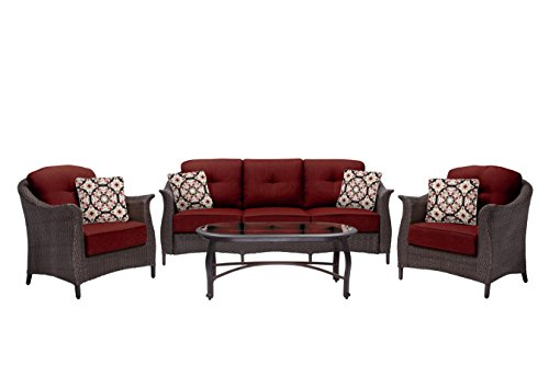 Hanover Outdoor Furniture Gramercy 4-Piece Wicker Patio Seating Set, Crimson Red