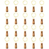 LEDIKON 20 Pack 20 Led Wine Bottle Lights with Cork,3.3Ft Silver Wire Warm White Cork Lights Battery Operated Fairy Mini String Lights for Wedding Party Wine Liquor Bottles Bar Christmas Decor