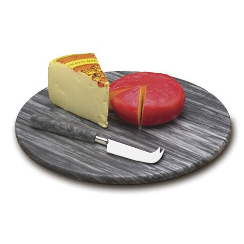 RSVP Grey Marble 2 Piece Cheese Board and Knife -