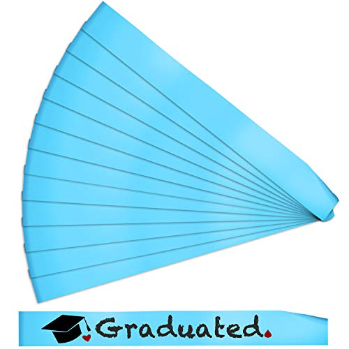 12 Pieces Blank Satin Sashes Plain Sashes Party Accessory for Wedding Party DIY Supplies (Light Blue)