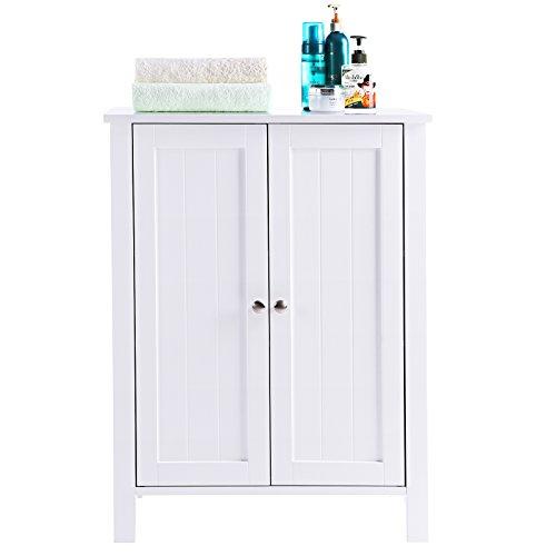 SONGMICS Bathroom Floor Storage Cabinet with Double Door Adjustable Shelf White UBCB60W by SONGMICS (Image #7)