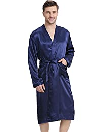 FLYCHEN Men's Satin Robe Lightweight Sleepwear Loungewear