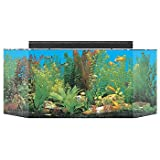 SeaClear 26 gal Flat Back Hexagon Acrylic Aquarium Combo Set, 36 by 12 by 16'', Black