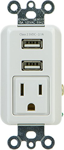 GE 25336 Receptacle, In Wall 1 Outlet 2 USB Ports 2.1 Amps