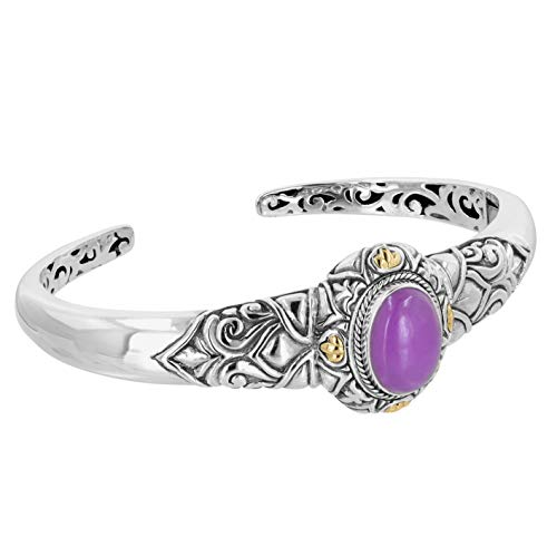 (Robert Manse Designs Bali Designs Sterling Silver Cuff Bracelet with 18k Gold Accents and Purple Jade)
