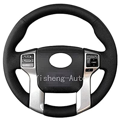 Eiseng Steering Wheel Cover for 2012-2020 Toyota Tacoma 2014-2020 Tundra 2014-2020 Sequoia 2010-2020 4Runner Stitch On Wrap Interior Accessories DIY Black Microfiber Leather (Black thread): Automotive