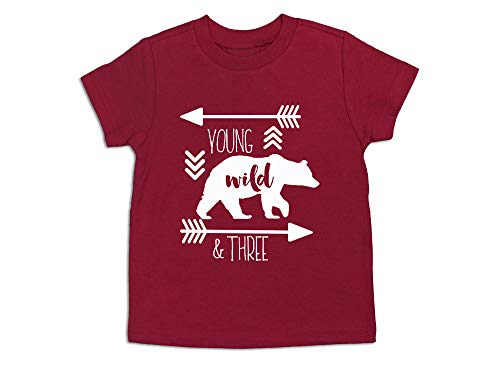Young Wild and Three 3rd Birthday Shirt Three Year Old Shirt 3rd Birthday Tee (Red, 3 Toddler)