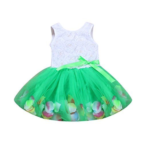 FORESTIME_baby clothes girl FORESTIME Toddler Infant Bowknot Petals Tulle Dresses Baby Girls Flower Gown Clothing Outfits (Green, 0-6 Months) (Forest Green Flower Pattern)