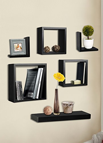 R Home Decor Set of 6 DECORATIVE Wall Shelves Black