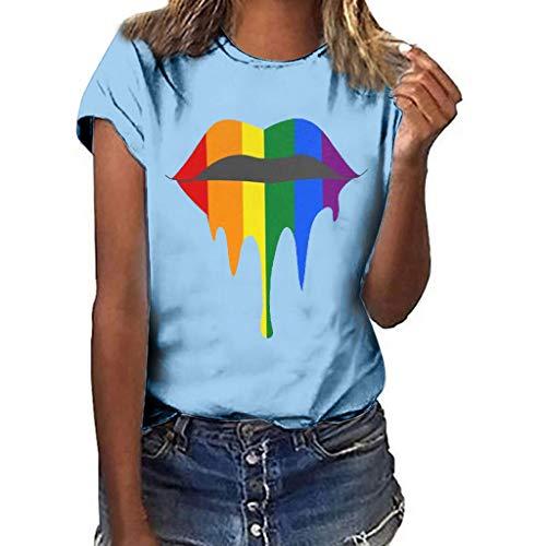 〓COOlCCI〓Graphic Tee Shirt for Women Teen Girls Short Sleeve Lips Print Graphic Tee Shirt Top Juniors Tees Sky Blue ()