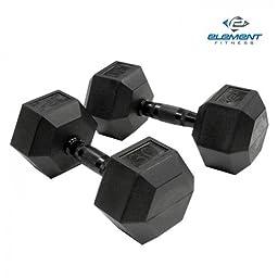 Element Fitness Virgin Rubber Commercial Hex Dumbbell 50 lbs