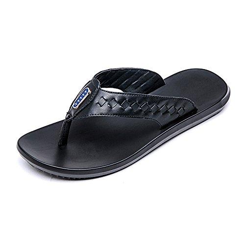 Zapatillas Playa Cuero EU de Genuino de Negro Chancletas 41 de Suaves tamaño Correa Negro la los Color Sandalias BINODA de Sandalias Hombres Planas Antideslizantes aqBxvv8