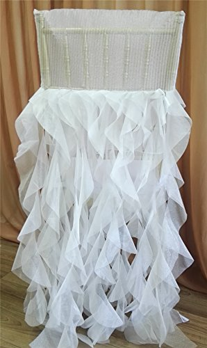 Elegant Pleats & Ruffled Organza chiavari Chair Back Cover Curly Willow Sashes Skirt for Wedding Chair Covers
