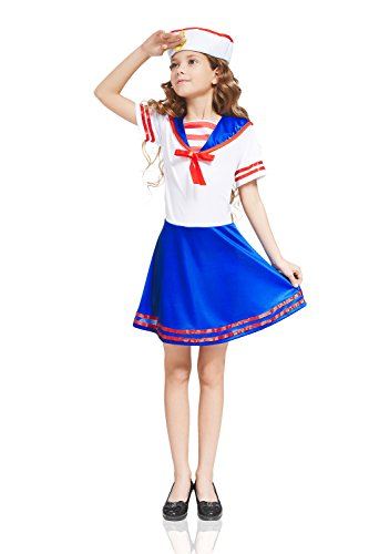 Retro Costumes Ideas (Kids Girls Sailor Marine Sea Marine Navy Ahoy Retro Blue White Costume Dress Up (3-6 years,)