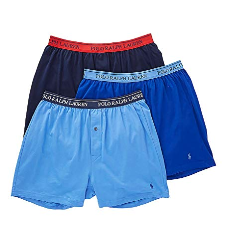 Knit Rugby - Polo Ralph Lauren Men's Classic Fit w/Wicking 3-Pack Knit Boxers Aerial Blue/Rugby Royal/Cruise Navy Large