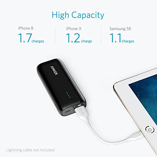 Anker Astro E1 5200mAh Candy bar Sized seriously in size mobile or portable Charger External Battery capability Bank using high tempo Charging PowerIQ modern technology Black Batteries