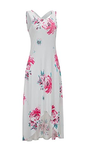 Vest Floral neck Printed Maxi O Women's White Racerback Coolred Sundress q10wg0