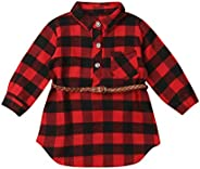 Baby Toddler Girls Long Sleeve Button Down Flannel Red Plaid Shirts Dress with Belt Kids Fall Clothes
