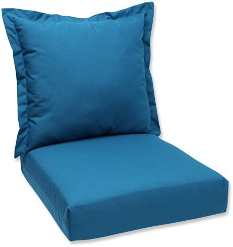 Pillow Perfect Sunbrella Canvas Indoor Outdoor Deep Seating Cushion Set, Spectrum Peacock