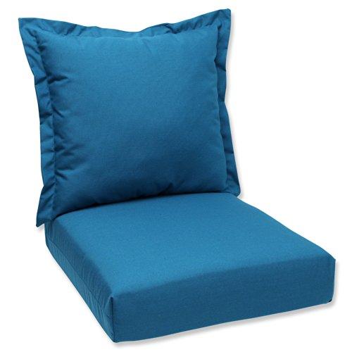 Pillow Perfect Deep Seating Cushion And Back Pillow With Peacock Sunbrella  Fabric  Sunbrella Patio Cushions