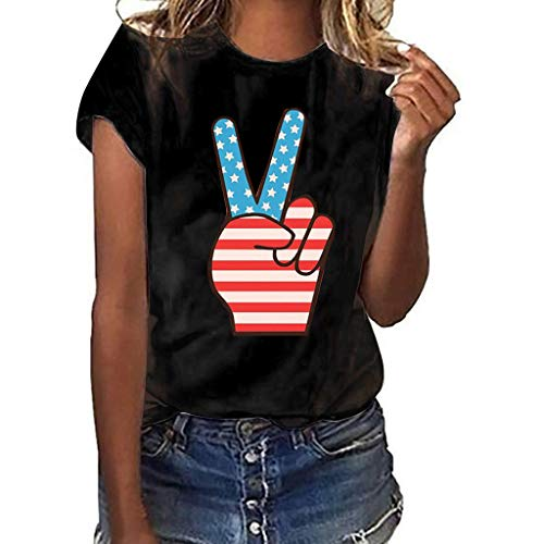 (Todaies Women's Girls Plus Size Independence Day American Flag Print Short Sleeve T-Shirt Tops (M, Black 1))