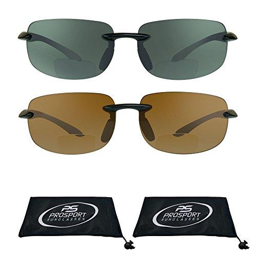 Rimless Bifocal Sun Glasses with Impact Resistant Polycarbonate Lenses. (Black Smoke & Black HD, 1.50)