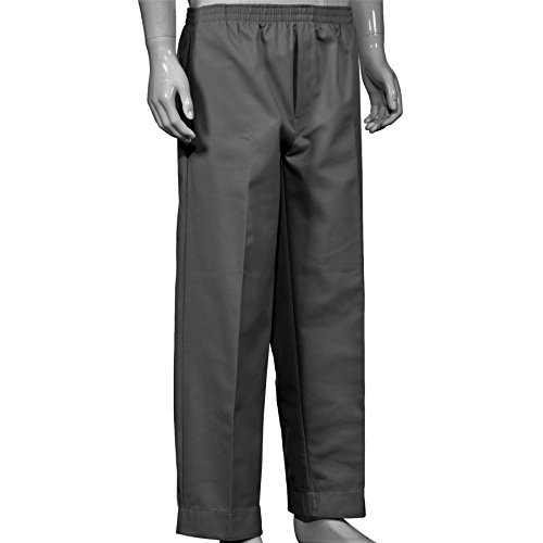 Adaptive Clothing - Mens Full Elastic Waist Pants with Mock Fly (XL, Grey)