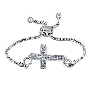 0.05ct Round White Diamond Sterling Silver Adjustable Cross Bolo Strand Bracelet Valentine's Day Sales