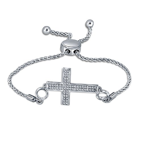 0.05cttw (IJ I2 I3) Round White Diamond Adjustable Cross Bolo Bracelet in Sterling Silver.