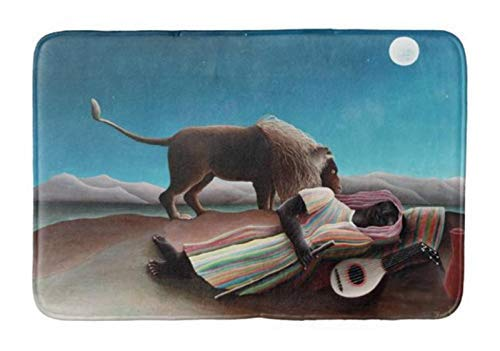 - compass her Bathroom Rug Mat (24X16 Inch),Extra Soft and Absorbent Rugs, Machine Wash/Dry,Floor Mats for Tub, Shower and Bath Room Henri Rousseau The Sleeping Gypsy Vintage Bath mat