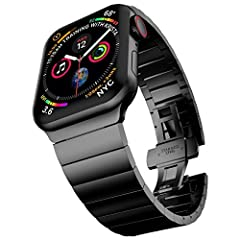 Features:  1. With refined polished surface, the iwatch series 4 series 5 band provides shiny metallic look.  2. Butterfly clasp locks the iwatch band 44mm/ 42mm easily and securely.  3. Good present for boyfriend, father or husband in all fe...