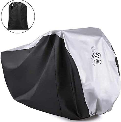 Viaky Outdoor Bicycle Cover for Two Bike, Mountain Bike Road Cycle Cover for two Bikes with Storage Bag, Waterproof and Anti Dust Rain UV Protection (Silvery & Black)