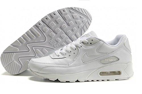 NIKE Men's Air Max 90 Leather White/White Running Shoe 10.5 Men US
