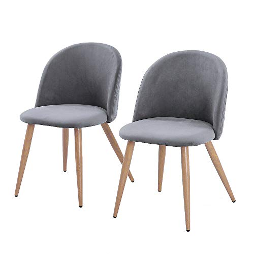 Cypress Shop Side Dining Chairs High Back Armless Modern Style Fabric Upholstered Seats Backrest Wood Legs Accent Living Room Side Seating Chairs Gray Color Home Office Furniture Set of 2 (Chair Crushed Tub Velvet)