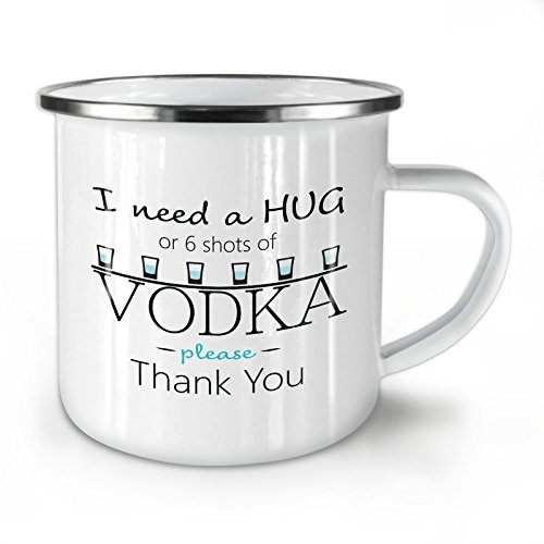 Hug Or Vodka Enamel Mug, Funny Quote Cup - Strong, Easy-Grip Handle, Two Side Print, Ideal for Camping & Outdoors By Wellcoda