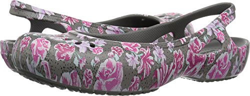 Crocs Sling (Crocs Women's Kadee Graphic Slingback W Ballet Flat, Multi Floral/Slate Grey, 9 M US)