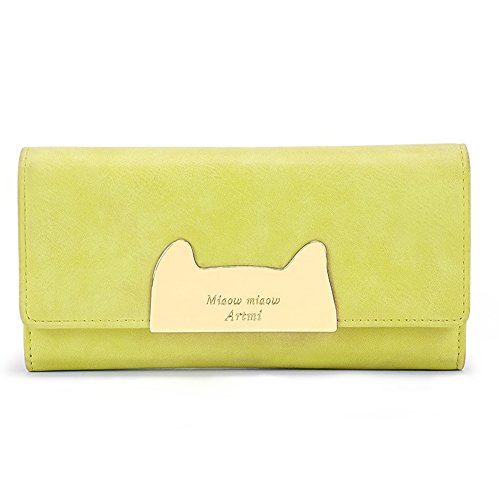 Womens Pure Colored Pu Leather Made Clutch Bag Cat Head Shaped Buckle Wallet