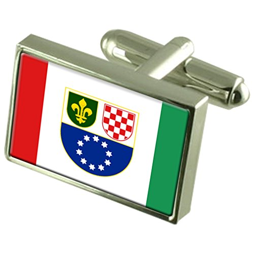 Bosniac-Croat Federation Sterling Silver Flag Cufflinks in Engraved Personalised Box by Select Gifts