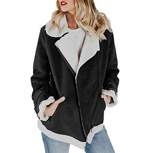 Lookwoild Womens Faux Suede Jacket Fleece Sherpa Lined Zip Up Coat Winter Warm Outwear (Black, ()
