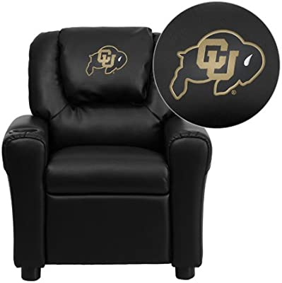 Flash Muebles Colorado Buffaloes Bordado Negro Vinilo niños reclinable con portavasos y reposacabezas