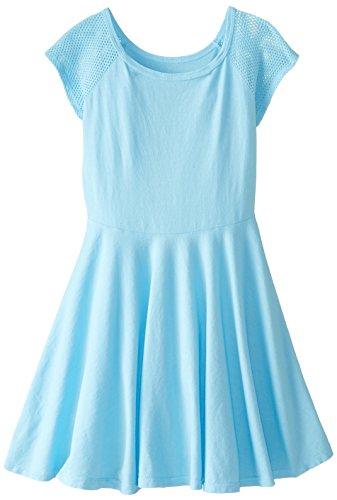 T2Love Big Girls' Circle Dress with Mesh Sleeves, Light Blue, 8