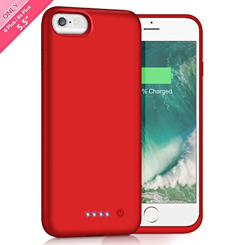 Battery Case for iPhone 6s Plus / 6 Plus 8500mAh,HETP Rechargeable External Charging Case for iPhone 6 Plus 6s Plus Protective Battery Pack Apple Portable Power Bank (5.5 inch) - Red
