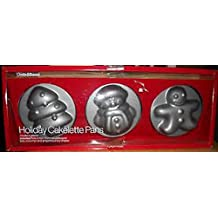 Crate & Barrel Holiday Cakelette Pans - Snowman, Christmas Tree, Gingerbread Boy